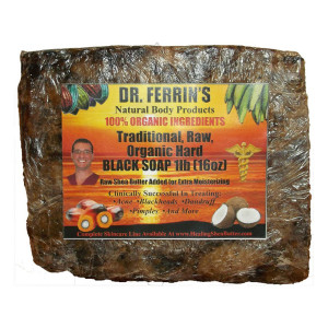 Dr. Ferrin's Traditional, Fair Trade, Raw, Organic, Unscented, African Black Soap